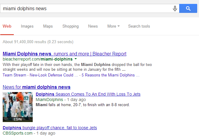 Miami Dolphins news SERP