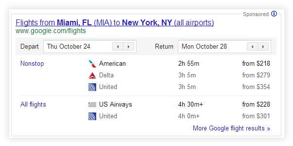 Google Flight Search Example